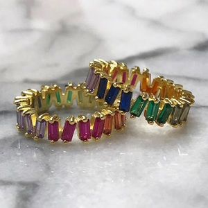 Jewelry - Perfectly Imperfect Colored CZ Baguette Ring, NWT
